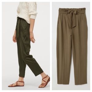 H&M Pants - NWT H&M Green Belted Paperbag Trousers Pants  14